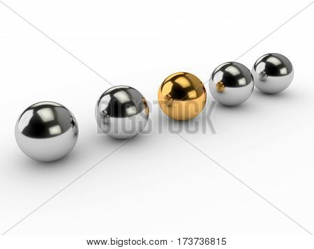 Business concepts illustration. Individuality and leadership in team. 3d render