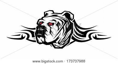 Tribal Decorative Artistic Powerful Strength Bulldog Tattoo Urban Ghetto Emblem