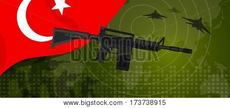 Turkey military power army defense industry war and fight country national celebration with gun soldier jet fighter and radar vector