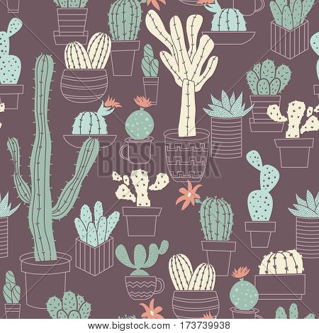 Vector seamless pattern of cute potted cactuses. Natural floral background with tropical and desert plants.