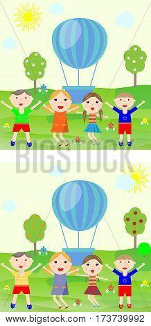 game find ten differences between children vector illustration
