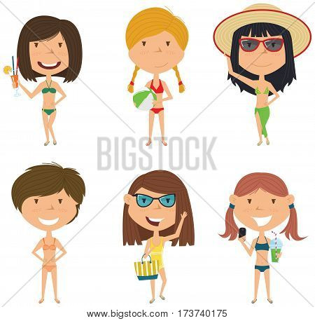 Beach female characters vector illustration. Happy summer girls standing with refreshing drink and coctail ball with beach bag make a selfie. Vector flat style kids isolated in white background.