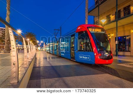 Adelaide Australia - August 22 2015: Adelaidemetro tram at Moseley Square Glenelg. Trams are terminated here.