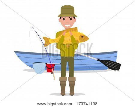 Vector illustration cartoon man fisherman holding big fish. Guy caught a big river fish on a boat. Flat style.