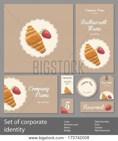 Set of corporate identity for restaurant, cafe or patisserie, fresh croissant and strawberry with napkin on a brown background, vintage branding business template, vector illustration