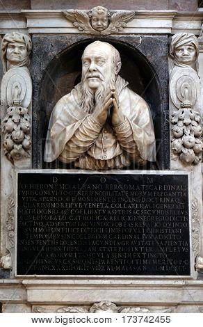 ROME, ITALY - SEPTEMBER 02: Monument to Gian Girolamo Albani in Church of Santa Maria del Popolo, Rome, Italy on September 02, 2016.