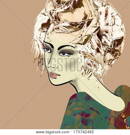 art colorful sketched beautiful girl face in profile with flowers in curly hair on monochrome sepia background in mixed media style