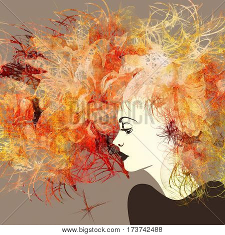 art colorful sketched beautiful girl face in profile with orange, red and gold flowers in curly long hair on sepia background in mixed media style