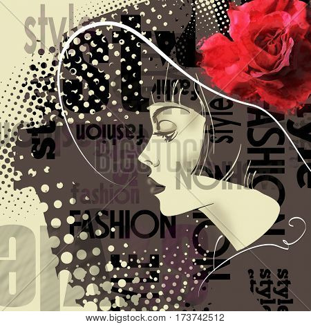 art monochrome black sketched beautiful girl face in profile in hat with red rose and short straight hair on sepia background in mixed media style
