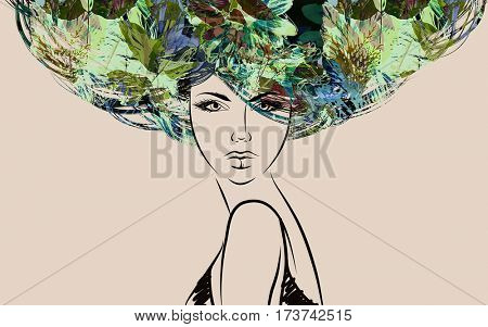 art colorful sketched beautiful girl face in mixed media style with  green and yellow floral curly hair on sepia background