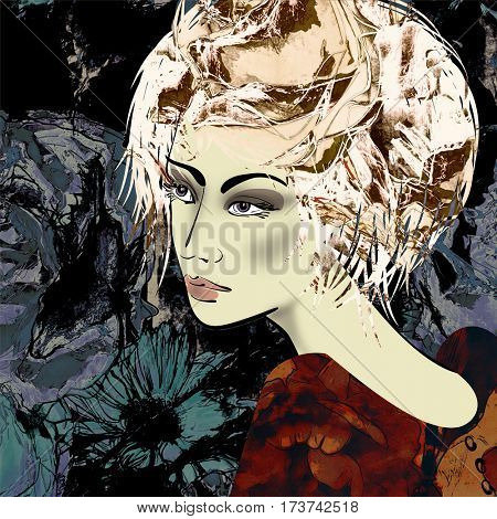 art colorful sketched beautiful girl face in profile with flowers in curly hair on black floral background in mixed media style