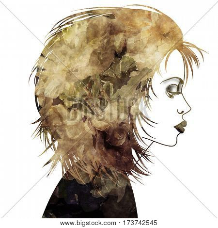 art monochrome old gold, brown and black sketched beautiful girl face in profile with flowers in hair isolated on white background in mixed media style