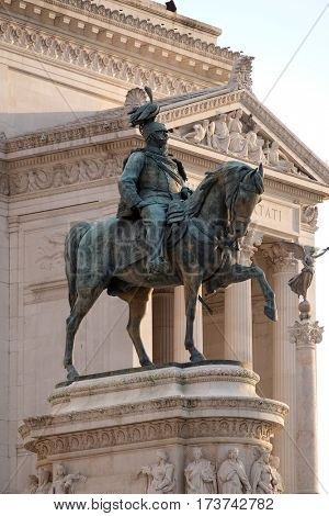 ROME, ITALY - SEPTEMBER 01: Equestrian sculpture of Victor Emmanuel II, Altare della Patria, Piazza Venezia, Rome, Italy on September 01, 2016.
