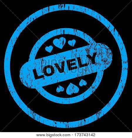 Lovely Stamp Seal grainy textured icon for overlay watermark stamps. Rounded flat vector symbol with dirty texture. Circled blue ink rubber seal stamp with grunge design on a black background.