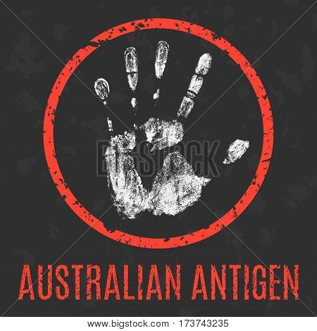 Conceptual vector illustration. The medical diagnosis. Australian antigen.