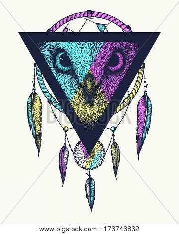 Dream catcher owl view. The idea for a tattoo t-shirts or cover. Vector illustration.