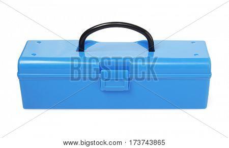 Blue Plastic Tool Box on White Background