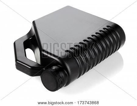 Black Motor Oil Container Lying on White Background