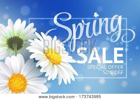 Springr sale concept. Summer background with chamomile and blue sky background. Template for banners, web, flyer, voucher. Vector illustration.