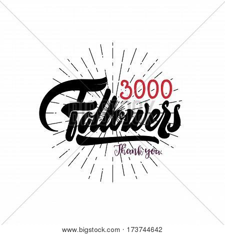 Thank you 3000 followers poster. Lettering card for social networking