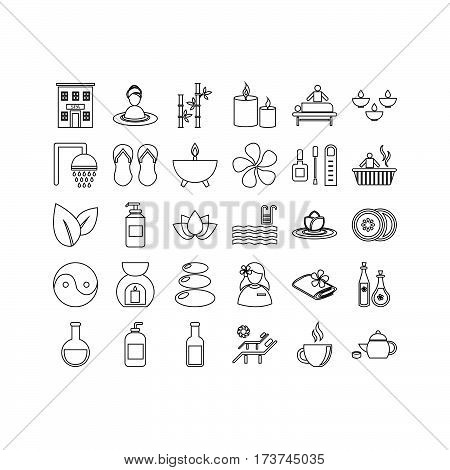 collection of thin line spa icons vector