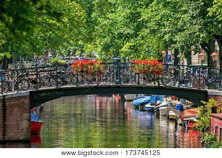 Bicycles on small bridge decorated with flowers over narrow canal among green trees in Amsterdam, Netherlands (shallow focus).