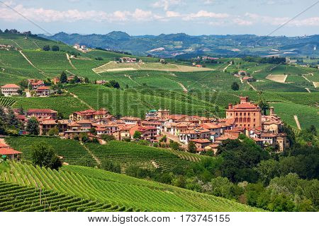 Small town of Barolo among green hills and vineyards of Langhe in Piedmont, Northern Italy.