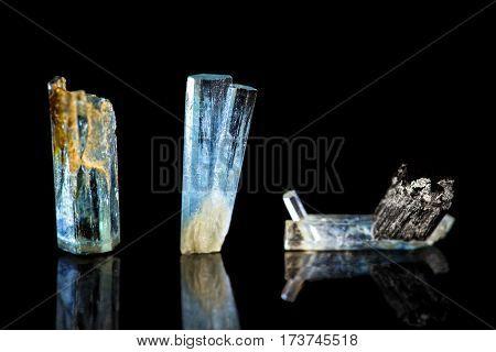 Three Blue Tourmaline, Indicolite, Black Background, Healing Stone, Mineral