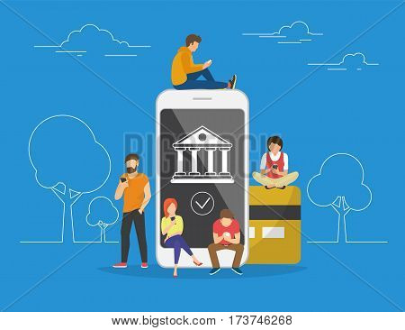 Mobile banking concept illustration of people using app for money transfering, accounting and online banking. Flat men and women standing near big smartphone with credit card and bank icon on screen