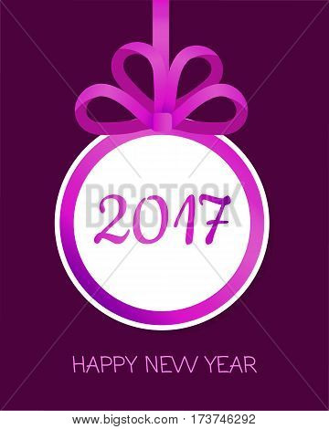 Happy New Year 2017 round banner with violet ribbon and big bow. Toy with white center. Christmas tree decoration. Bow with four narrow petals. Simple cartoon design. Front view. Flat style. Vector.