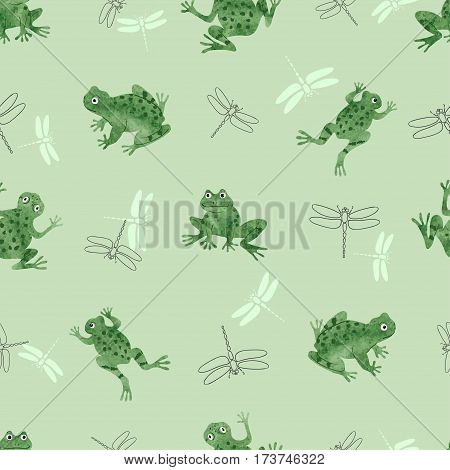 Seamless frogs pattern. Vector background with green frogs and dragonflies.