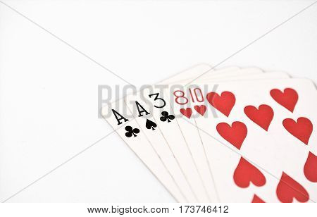 Poker hand ranking symbol set Playing cards in casino: one pair ace two three eight on white background luck abstract horizontal copyspace on white