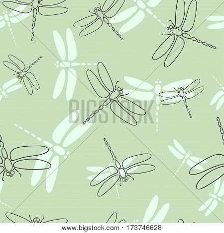 Seamless dragonflies pattern in green. Vector illustration.
