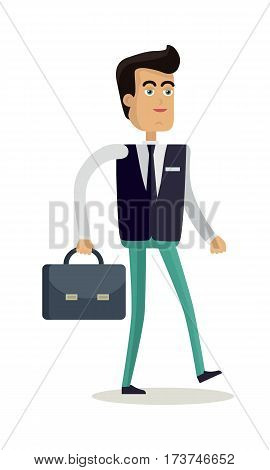 Office worker character vector. Cartoon in flat style design. Man in business clothes with briefcase. Businessman, manager, clerk, vendor, consultant, employee, lawyer. Isolated on white background