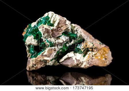 Dioptase On Bedrock, Rough Gemstone, Black Background