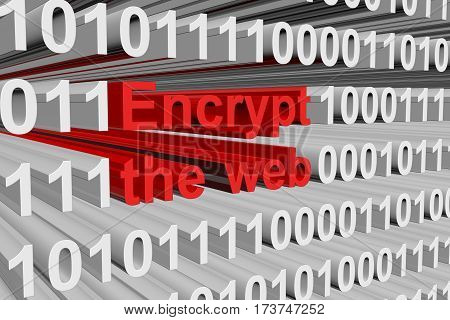 encrypt the web is presented in the form of binary code 3d illustration