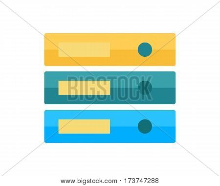 Stack of three folders isolated on white. Large number of business documents. Colorful document cases. Paper work, office routine, bureaucracy concept. Flat design. Data, mailing, management services.