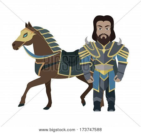 Cartoon knight warrior with horse. Stylized fantasy game medieval character. War concept. For computer games, mobile appliances. Part of series of game objects in flat design. Vector illustration.