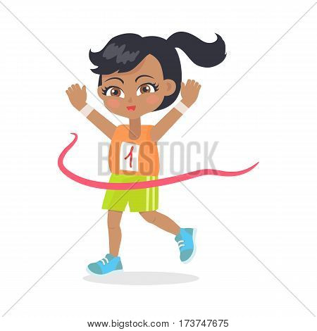 Running girl crosses finish line. Female teenage with ponytail wearing orange t-shirt and green shorts. Black hair. Cartoon design. Illustration of happy female sportsman athlete. Flat design. Vector