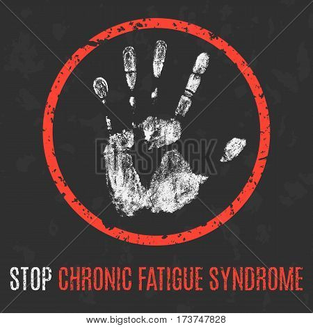 Vector illustration. Human sickness. Stop chronic fatigue syndrome.