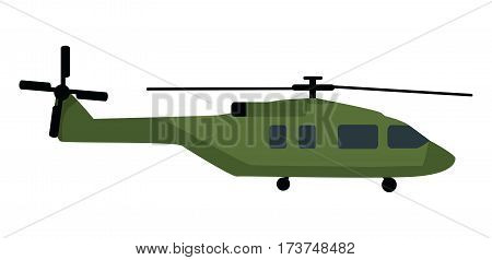 Military helicopter icon. Transport army chopper in camouflage color vector illustration isolated on white background. Modern armament of army air forces. For military concepts, infographics design