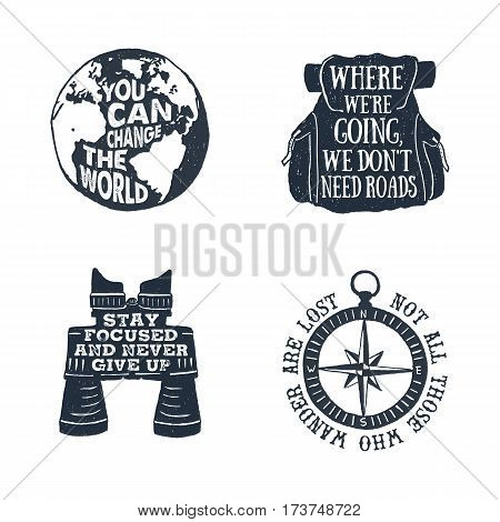 Hand drawn textured vintage labels set with planet Earth backpack binoculars and windrose vector illustrations and lettering.