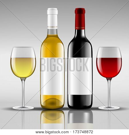 bottles of red and white wine with glass vector illustration