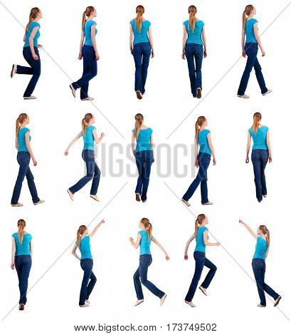 set back view of walking and running woman in jeans . beautiful blonde girl in motion. backside view of person. Rear view people collection. Isolated over white background. she rushes to meet someone