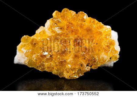 Citrin Quartz, Mineral, Black Background, Healing Stone