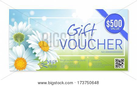 Gift voucher template with delicate white flowers. Vector Abstract background. Concept for boutique, jewelry, floral shop, beauty salon, fashion, flyer, banner design. Gift voucher design