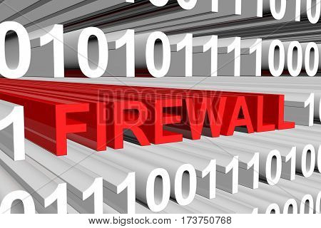 firewall as a binary code with blurred background 3D illustration