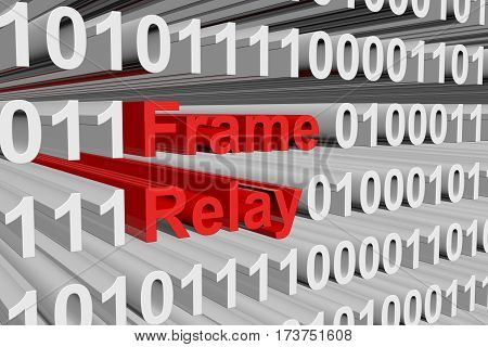 frame relay is presented in the form of binary code 3d illustration