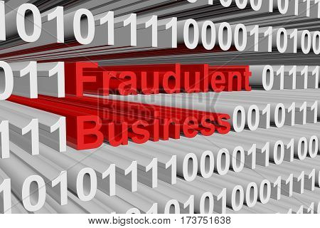 fraudulent business is presented in the form of binary code 3d illustration