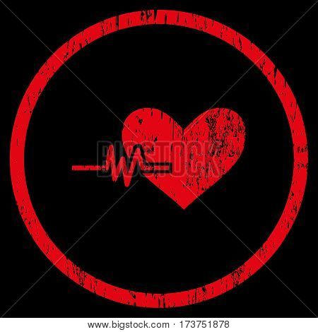 Heart Pulse grainy textured icon for overlay watermark stamps. Rounded flat vector symbol with scratched texture. Circled red ink rubber seal stamp with grunge design on a black background.